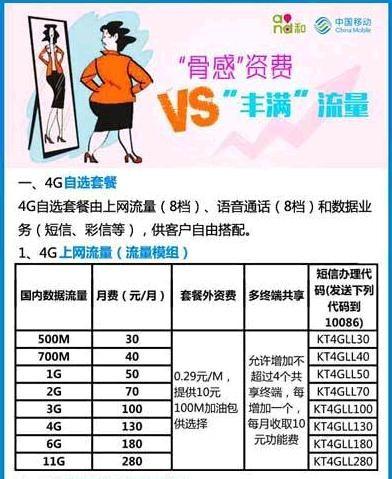 中国移动4G新资费公布:新特点一览