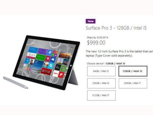 微软也跳票 128G版Surface Pro3推迟发货