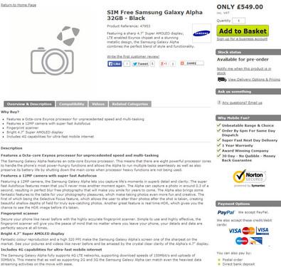 549英镑 Galaxy Alpha现身英零售商网站