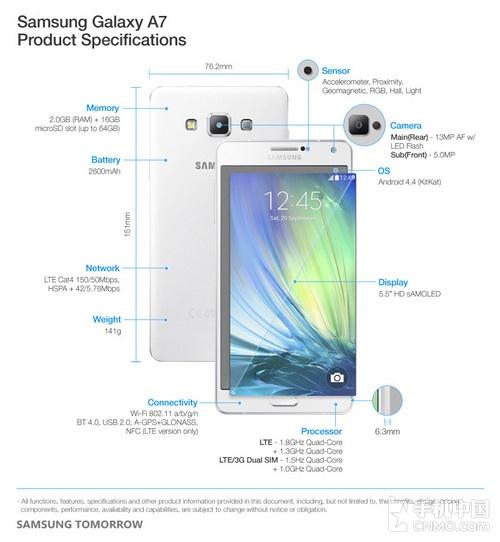 三星最薄金属智能机 Galaxy A7正式发布第3张图