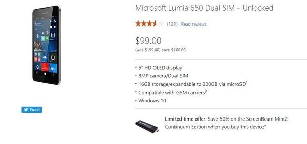 Lumia 650五折卖