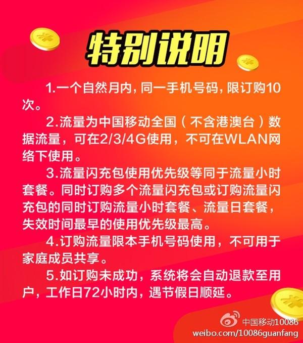 中国移动春节流量包来了 10元1G用7天