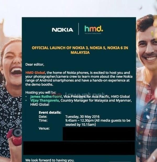 诺基亚3/5/6将在马来西亚发布