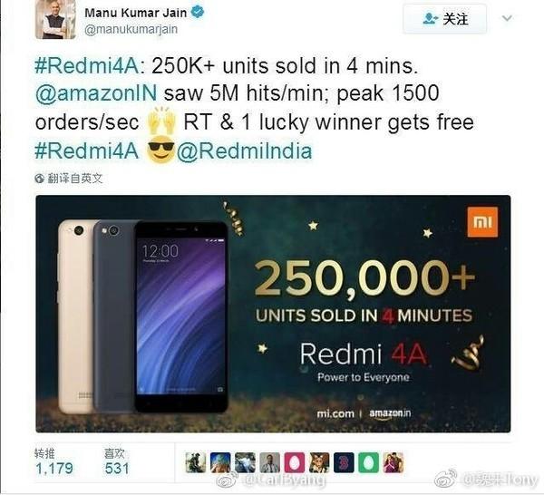 红米4A在印度销量极佳