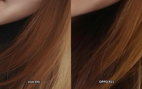 vivo X9s和OPPO R11自拍样张放大