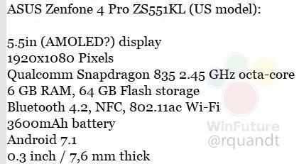 华硕新旗舰配置曝光 骁龙835配6GB RAM