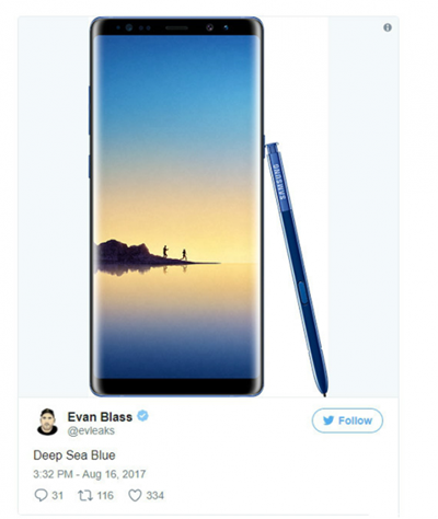 三星Note8深海蓝版本