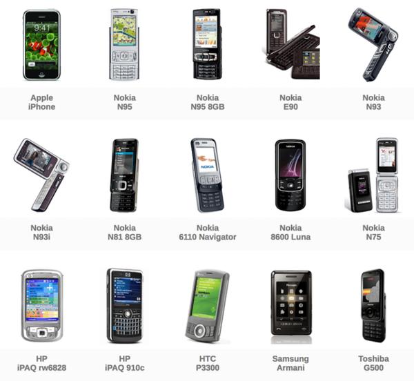 2007年出现的部分手机产品