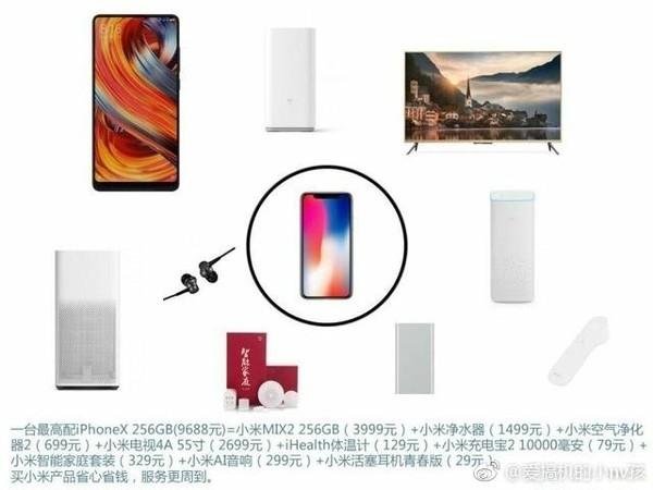 一台iPhone X可以买这么多小米产品 值么?