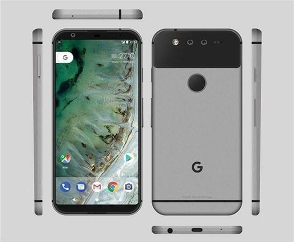 2渲染图 根据此前曝光的消息看,谷歌Pixel 2将会采用全面屏设计,依旧采用后置指纹,配置方面,Pixel二代会有两款产品,开发代号为Walleye和Taimen。Walleye是一款小尺寸的手机,采用了4.97英寸屏幕,分辨率为1080P,拥有前置发声的立体声扬声器,取消了3.5mm耳机插孔,搭载高通骁龙835处理器和4GB+64GB的存储空间。