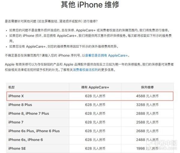 iPhone X保外维修价格为4588元,约等于一台iPhone 7