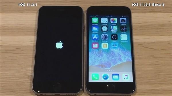 iOS 11.2.1和iOS 11.2.5 Beta 2开机对比视频