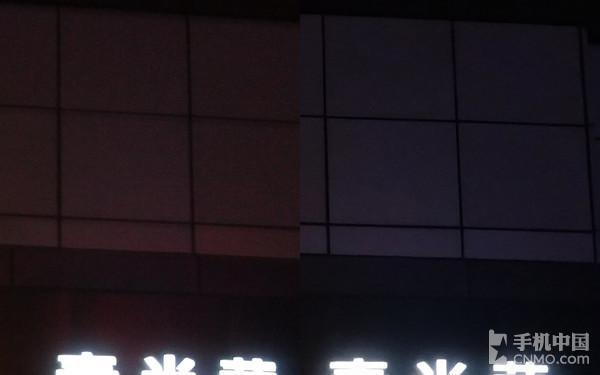 左图未开启夜拍模式 右图开启夜拍模式<strong><p  align=