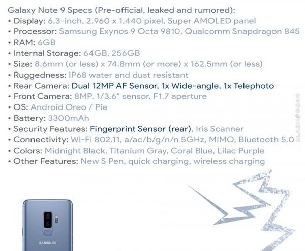 三星Note 9完整配置曝光