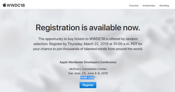 6月4号!苹果WWDC 2018大会时间确认