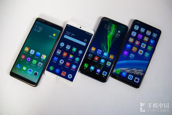 从左至右:努比亚红魔电竞游戏手机、魅族15、荣耀10、OPPO R15