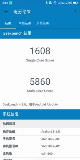 360手机N7Geekbench 4跑分