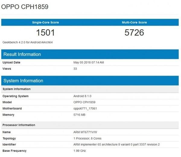 OPPO Realme 1跑分曝光 下一个千元爆款