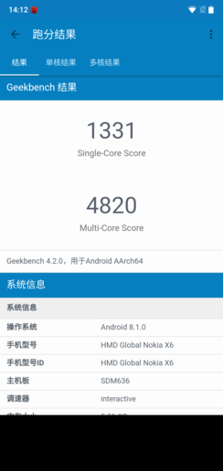 NOKIA X6――Geekbench 4跑分