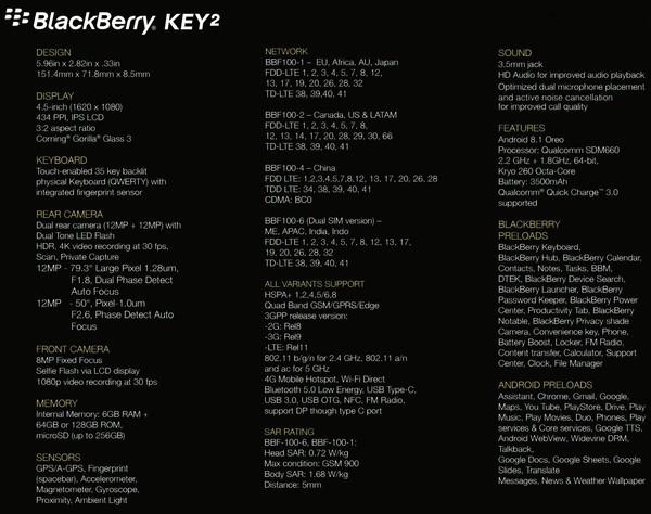 黑莓KEY2参数曝光