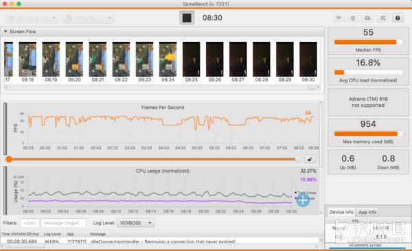 小米8 SE运行《荒野行动》的帧率表现
