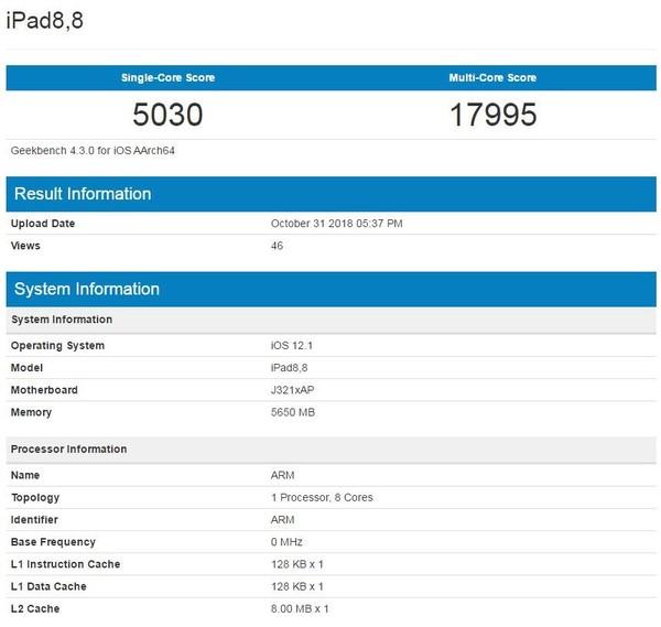新款iPad Pro Geekbench跑分