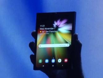 三星首次展示可折疊手機真機 變形超酷炫