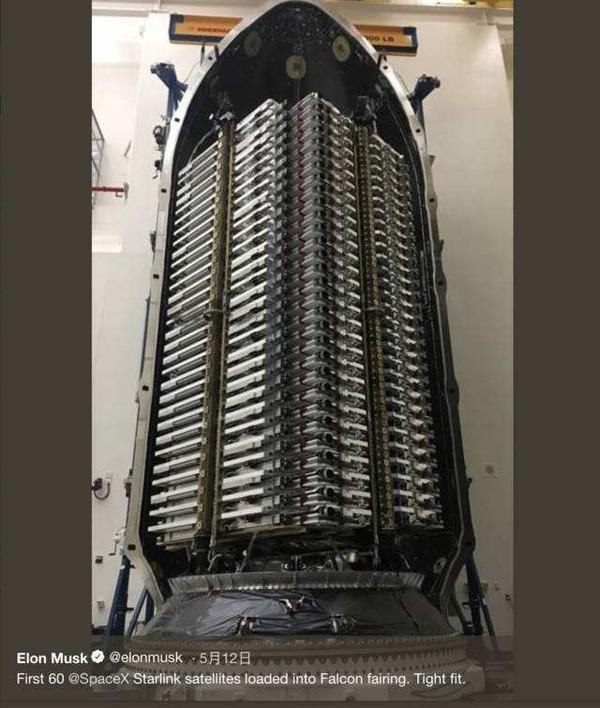 馬斯克在社交媒體上發布火箭裝載的60顆衛星(圖源網絡)