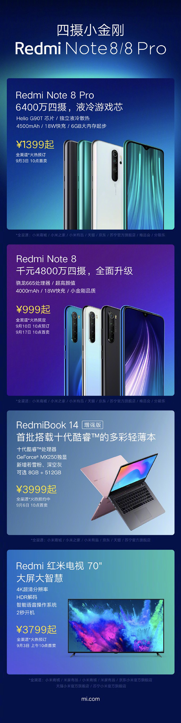红米Note 8系列发布会新品汇总 最低只要999元起