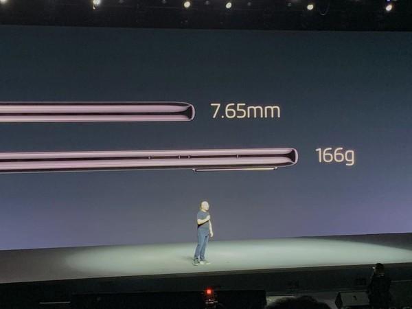 魅族16s Pro厚度为7.65mm,重量为166g