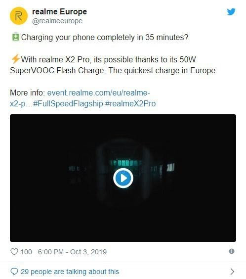 realme X2 Pro支持SuperVOOC 50W闪充 35分钟充满电