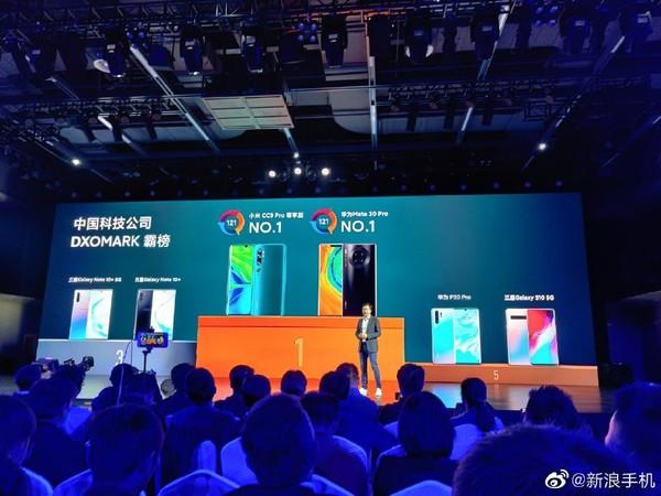 小米CC9 Pro在DXOMARK上与华为Mate30 Pro并列第一(图源微博)