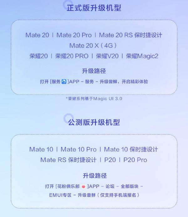 EMUI10適用更新機型列表