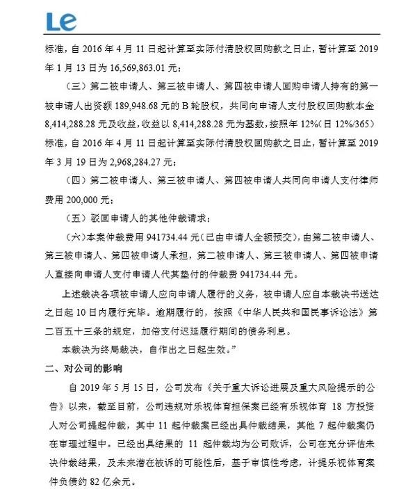 乐视网被要求回购北京普思投资公司A+轮和B轮股权
