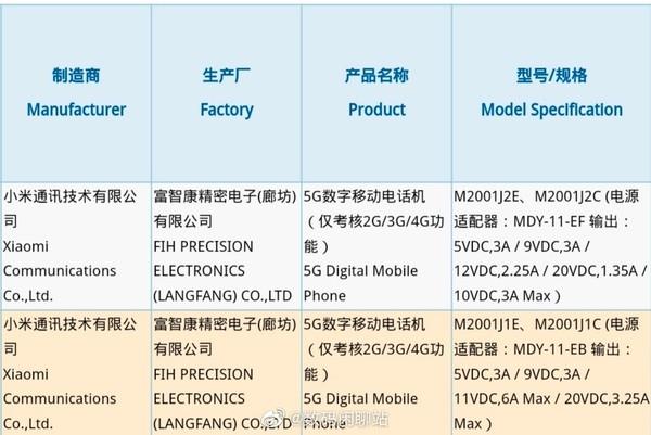 小米5G新机获认证(图源微博)