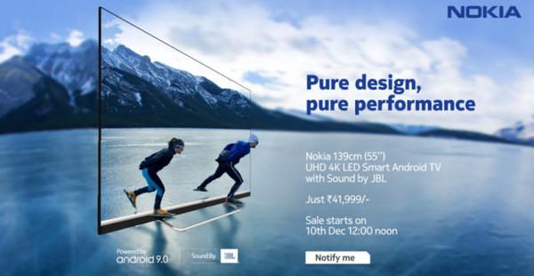 诺基亚首款智能电视印度上架 4K面板 JBL音响加持