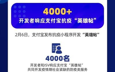 """4000名开发者响应抗疫""""英雄帖"""" 支付宝上线疫情服务市场"""