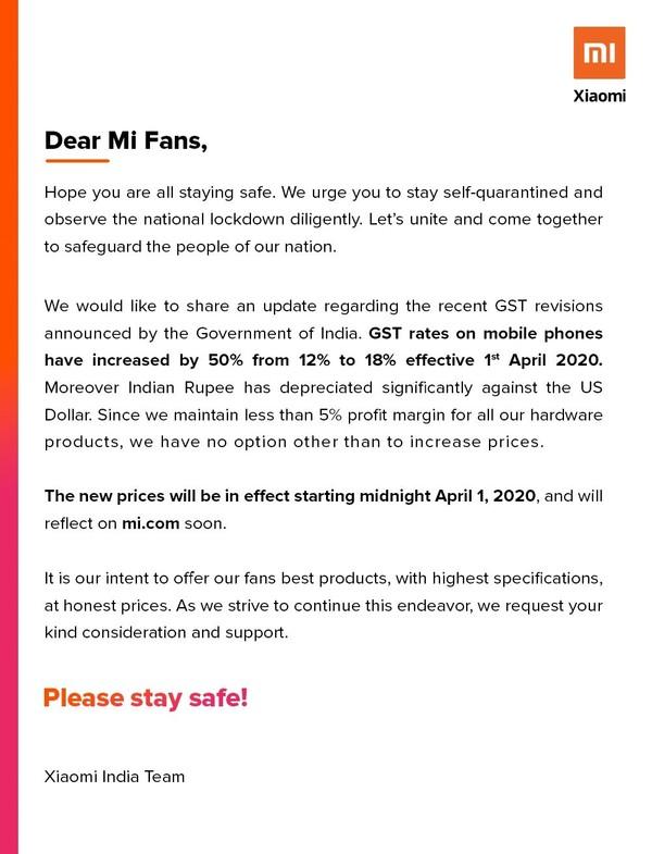小米上调印度智能手机售价