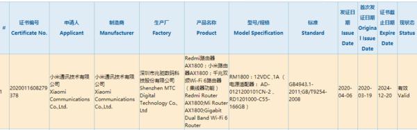 Redmi路由器3C認證