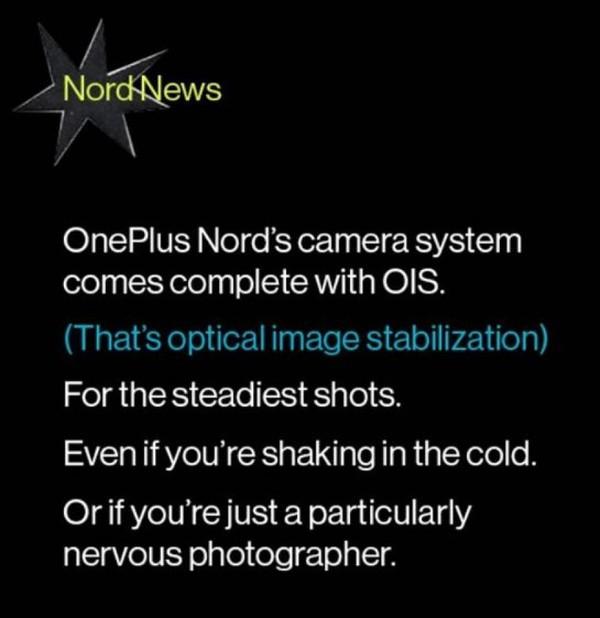 一加Nord将支持光学防抖