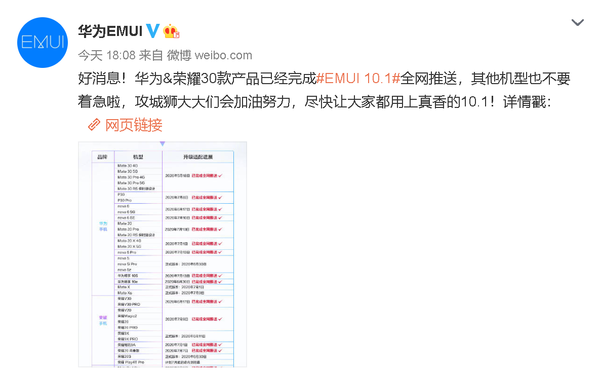 EMUI 10.1升级适配进展