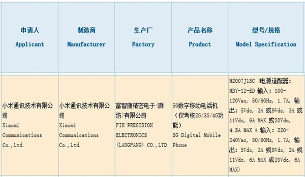 小米新机获3C认证