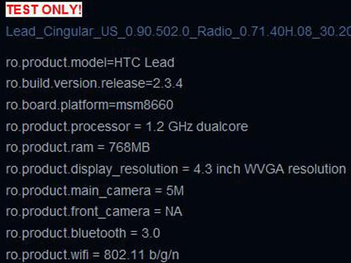 双核三防Android HTC Lead详细参数曝光