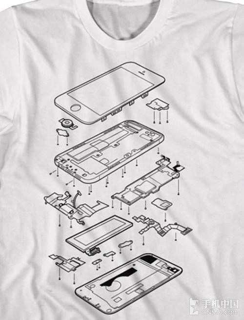 苹果穿身上 iphone 5拆分零件主题t恤
