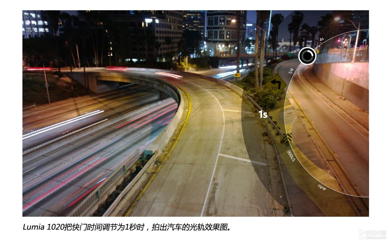 lumia 1020把快门时间调节为1秒时,拍出汽车光轨效果图.