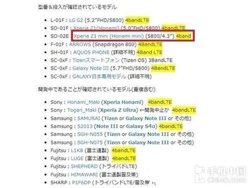 骁龙800处理器 索尼Xperia Z1 mini曝光
