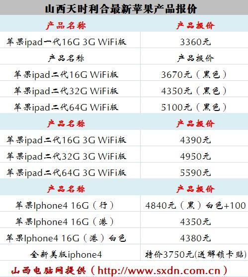苹果报价表_太原苹果iphone4/ipad 8月19日报价表